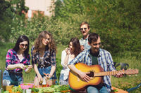 Group of friends having picnic in park.