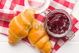 Sweet croissants and jam.