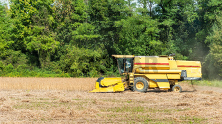 Combine harvester on a soy field