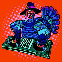 Thanksgiving Turkey character. DJ at the holiday party