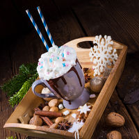 hot chocolate with colorful mini-marshmallows mix