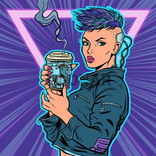 cyber woman drinks drink