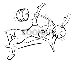 Weight lifting training in the gym