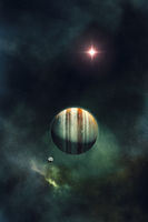night sky with gas giant planet and nebula