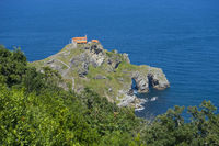 San Juan Gaztelugatxe island view, basque country, historical island with chapel in Northern Spain
