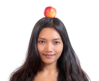 woman with apple on her head