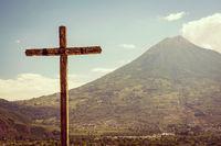 Volcano And Cross In Antigua Guatemala