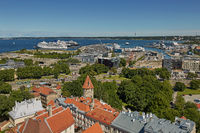View of the town and the port of the city of Tallinn in Estonia
