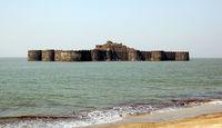 Murud-Janjira Fort situated on an oval-shaped rock off the Arabian Sea coast near the port town of Murad, 165 km or 103 mi south of Mumbai.