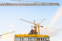 Cranes, construction site, apartments, industry