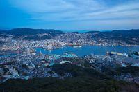 Night view of Nagasaki city skyline in Japan