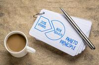 Pareto 80-20 principle concept on napkin