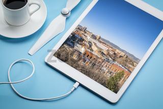 urban aerial image on digital tablet