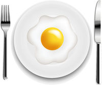 Plate With Fried Eggs Fork And Knife White Background