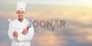 Cook cooking education training young man male job banner copyspace copy space