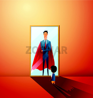 little boy dreaming to be super businessman in future. Boy imagining himself grown up as sucessful businessman in mirror reflection. Kid fantasy goal. Flat isolated vector illustration