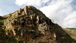 Pinkuylluna, Inca storehouses at Ollantaytambo archaeological site, Cuzco, Peru