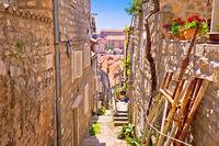 Dubrovnik steep narrow street view
