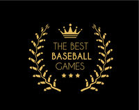 Emblem for the best baseball games consisting of a wreath of baseball laces and crown. Vector