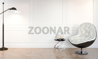 3d modern bright room with chair and lamp