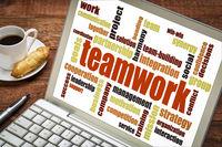 teamwork word cloud on laptop