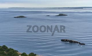 Smooth Mediterranean Sea. Ibiza Island. Balearic Islands. Spain