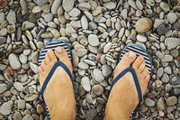 Human, legs, summer beach, pebbles, Tropical Vacation, Sea Vacation, traveling, diving, underwater, coral reef, storm, sunbathing, route, beach slippers, beach accessories, tan