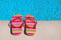 Flip flops at the swimming pool