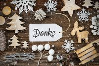Label, Frame Of Christmas Decoration, Danke Means Thank You, Snowflakes