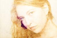 Portrait einer jungen Frau im Pictorialismus Stil