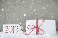 Gift, Cement Background With Snowflakes, Text 2019, Snow