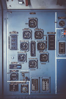 Old airplane control panel in cockpit