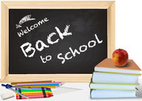 Background Back to School with Books and Chalkboard