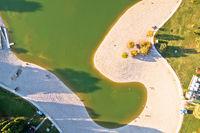 Bundek lake in Zagreb aerial view