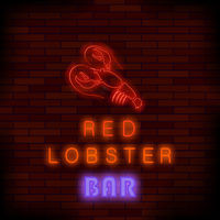 Colorful Neon Lobster Bar Sign