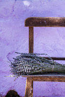 Bundle of Dry Lavender on Authentic Vintage Brown Table
