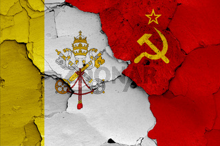 flags of Vatican and Soviet Union