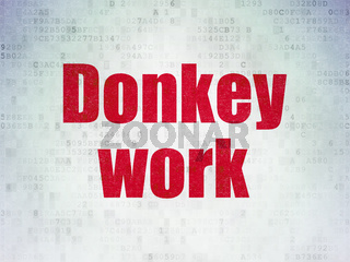 Business concept: Donkey Work on Digital Data Paper background