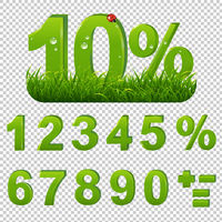 Green Percents Set With Grass Transparent Background