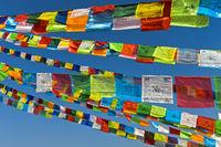Buddhistische Gebetsfahnen, Boudhanath Stupa, Kathmandu, Nepal