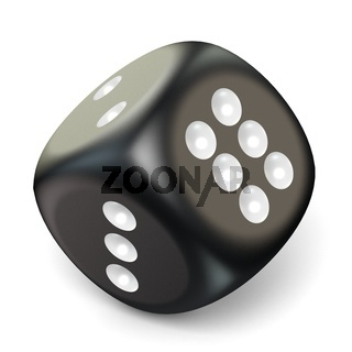 Single black game dice. 3D