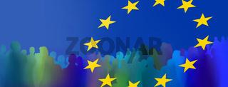 europa menschen silhouetten zeichen panorama