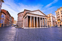 Patheon square ancient landmark in eternal city of Rome view