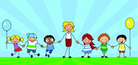 kids and teacher on meadow holding hands, educator with preeschool children  -