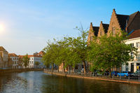 Canal and old houses. Bruges (Brugge), Belgium
