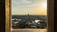 Budapest cityscape skyline with view of Danube River in Hungary