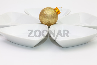 Ceramic bowls for sushi food and gold Christmas decoration