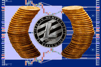 Litecoin coin surrounded by reflected circle of pure gold coins