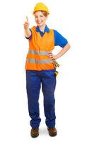 Frau als Straßenbauer hält Daumen hoch