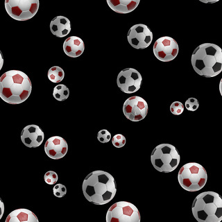 red Soccer-balls isolated on black background seamless pattern 3d illustration